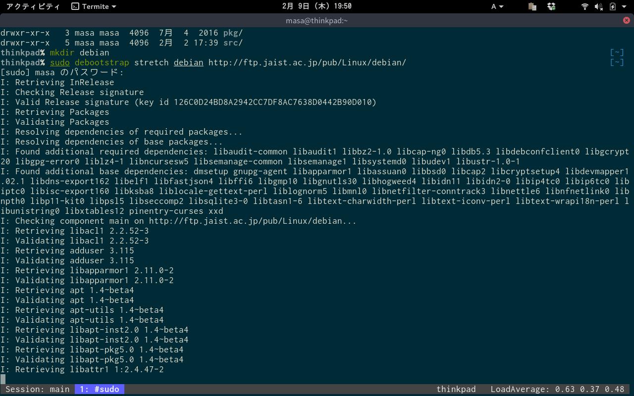 Debianインストール中
